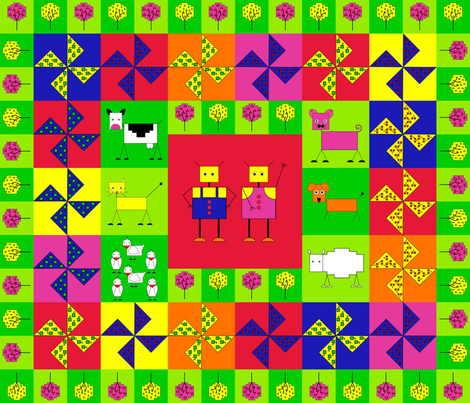 Robot farm cheater quilt fabric by alexsan on Spoonflower - custom fabric