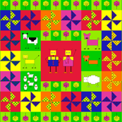 Robot farm cheater quilt