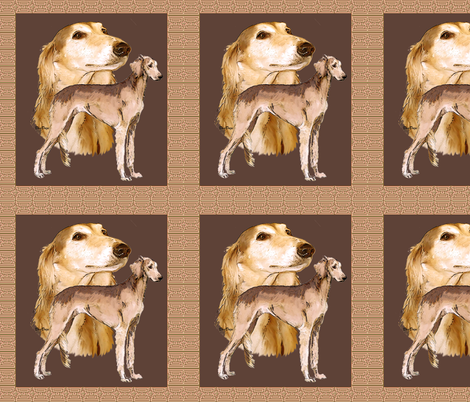 salukis on brown background fabric by dogdaze_ on Spoonflower - custom fabric
