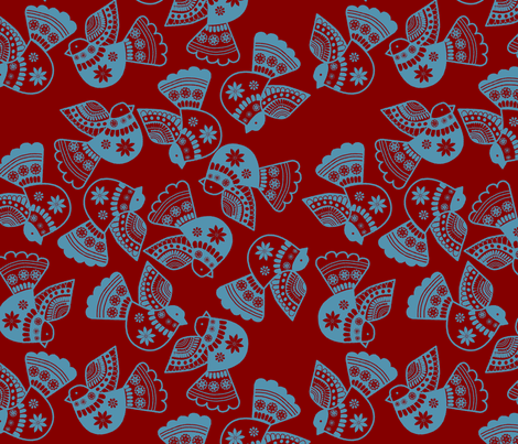 oiseaux serigraphie fond_rouge fabric by nadja_petremand on Spoonflower - custom fabric