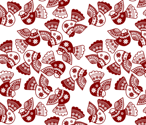 oiseaux serigraphie rouge fabric by nadja_petremand on Spoonflower - custom fabric