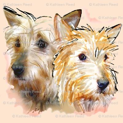 Australian Terriers Watercolor Portrait