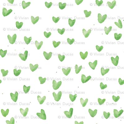 Mint Watercolor Hearts by C'EST LA VIV