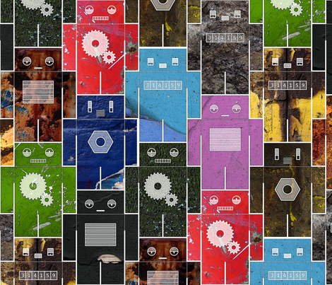 Rusty Robots fabric by chris on Spoonflower - custom fabric