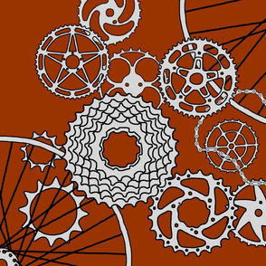 "Bicycle parts - Chestnut brown - 42 inch repeat (click on ""yard"" then on ""fat quarter"" if screen comes up white"