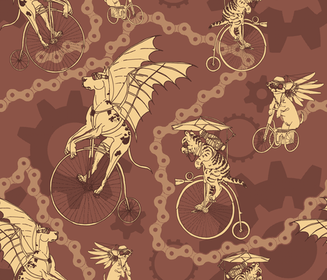 Steampunk Pets in Brick Red fabric by muddyfoot on Spoonflower - custom fabric