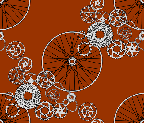 Beautiful Bicycle parts - FQ - chestnut brown fabric by victorialasher on Spoonflower - custom fabric