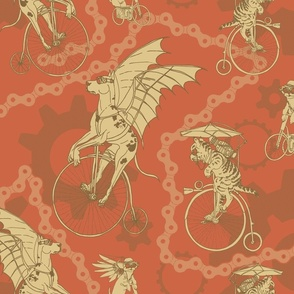 Steampunk Pets in Salmon and Taupe