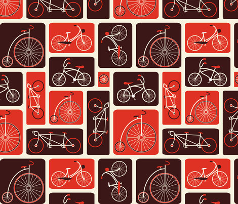Retro Red Bicycle Love - by ebygomm - Large Scale fabric by upcyclepatch on Spoonflower - custom fabric