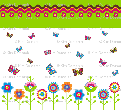 Retro Flower & Butterfly Panel with Border
