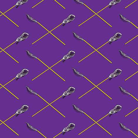 Purple and Gold Crossed Lacrosse Sticks fabric by jmckinniss on Spoonflower - custom fabric