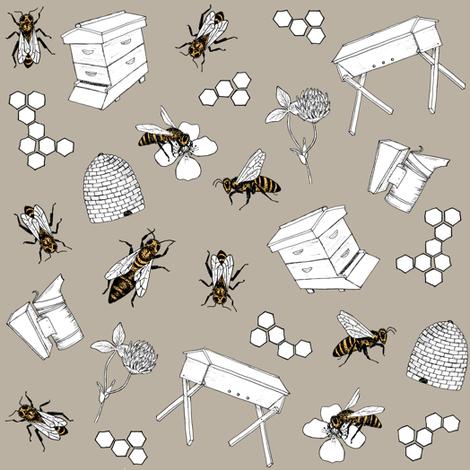 beekeeper - stone fabric by alicecantrell on Spoonflower - custom fabric
