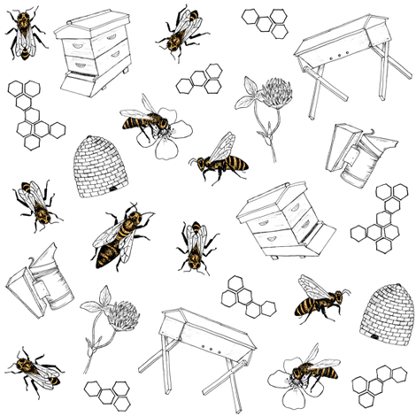 beekeeper - white fabric by alicecantrell on Spoonflower - custom fabric