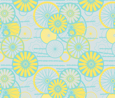 Bicycle Wheels Floral fabric by meg56003 on Spoonflower - custom fabric
