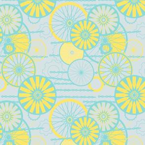 Bicycle Wheels Floral