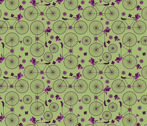bicycle_flowers_1 fabric by erika_ees on Spoonflower - custom fabric