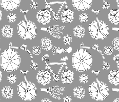 BIcycles, Ball Bearings, Gears, Fringe and Horn fabric by lizarti on Spoonflower - custom fabric