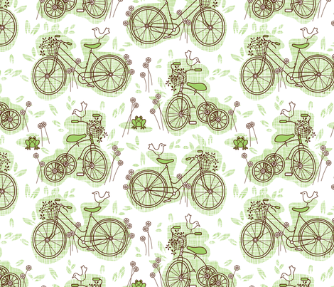 Bicycle garden art fabric by cjldesigns on Spoonflower - custom fabric