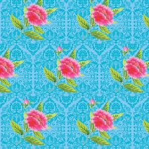 Cheerful peony (turquoise damask)