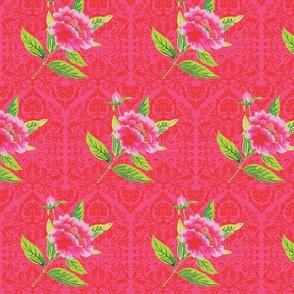 Cheerful peony(hot pink damask)