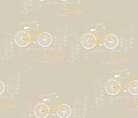 les oiseaux et une bicyclette fabric by fox&lark on Spoonflower - custom fabric
