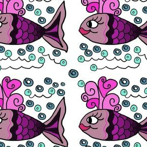 PInk fish with bubbles