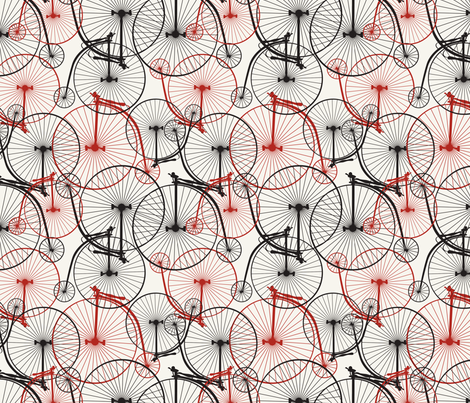 Penny Farthing red fabric by minimiel on Spoonflower - custom fabric