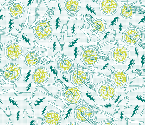 vintage bikes fabric by babysisterrae on Spoonflower - custom fabric