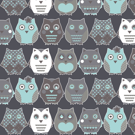 owls blue fabric by katarina on Spoonflower - custom fabric