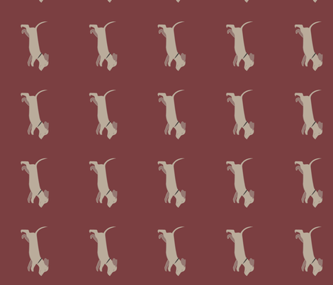 doxie_run-burgundy fabric by silkhope86 on Spoonflower - custom fabric