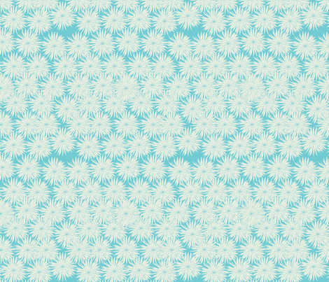 Aqua and White Flowers-Darker Aqua fabric by meg56003 on Spoonflower - custom fabric