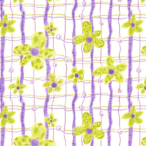 Chartreuse Flower Plaid fabric by countrygarden on Spoonflower - custom fabric