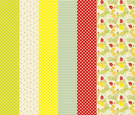 Nasturtiums Vintage Sampler_OLD fabric by anntuck on Spoonflower - custom fabric