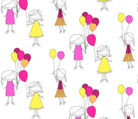 Girls with Balloons fabric by meg56003 on Spoonflower - custom fabric