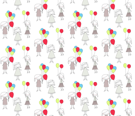 girlwithballoons7 fabric by meg56003 on Spoonflower - custom fabric