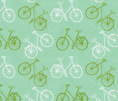 thread bikes - ice & lime fabric by wednesdaysgirl on Spoonflower - custom fabric