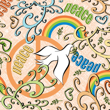 Little Dove's Piece for Peace - Orange fabric by inscribed_here on Spoonflower - custom fabric