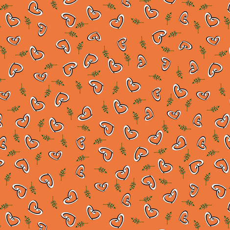 Peace Hearts - Orange fabric by inscribed_here on Spoonflower - custom fabric