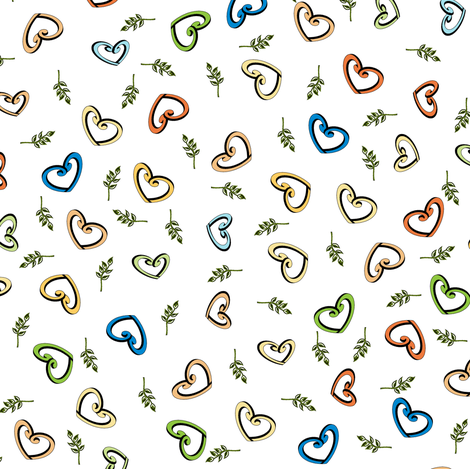 Peace Hearts - Bright fabric by inscribed_here on Spoonflower - custom fabric