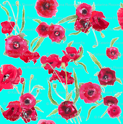 poppy on Aqua background