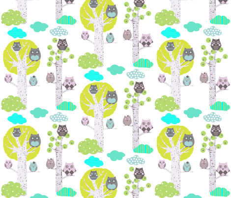 owls in trees white fabric by katarina on Spoonflower - custom fabric