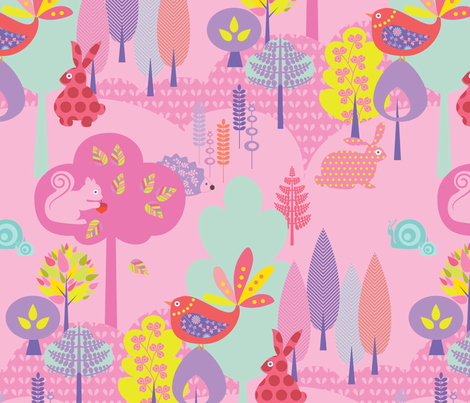 Candy Coloured Forest fabric by kayajoy on Spoonflower - custom fabric
