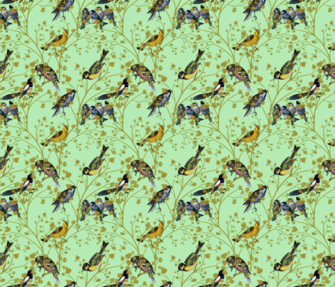 Georgian Birds on green fabric by glanoramay on Spoonflower - custom fabric