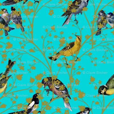 Georgian Birds on turquoise