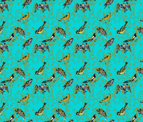 Georgian Birds on turquoise fabric by glanoramay on Spoonflower - custom fabric