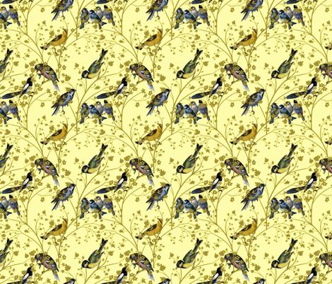 Georgian Birds on yellow fabric by glanoramay on Spoonflower - custom fabric