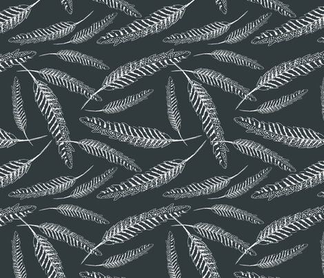 Texas Modern Feather Wind Charcoal fabric by jacinda on Spoonflower - custom fabric