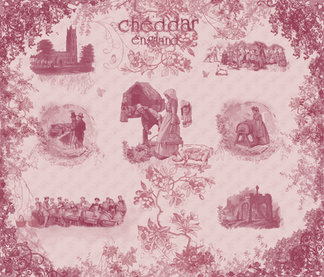 Cheddar England Toile fabric by macabrevictorian on Spoonflower - custom fabric