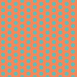 coral & aqua dot