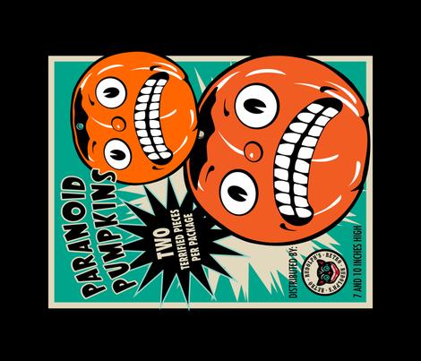 Paranoid Pumpkins Tea Towel fabric by retrorudolphs on Spoonflower - custom fabric